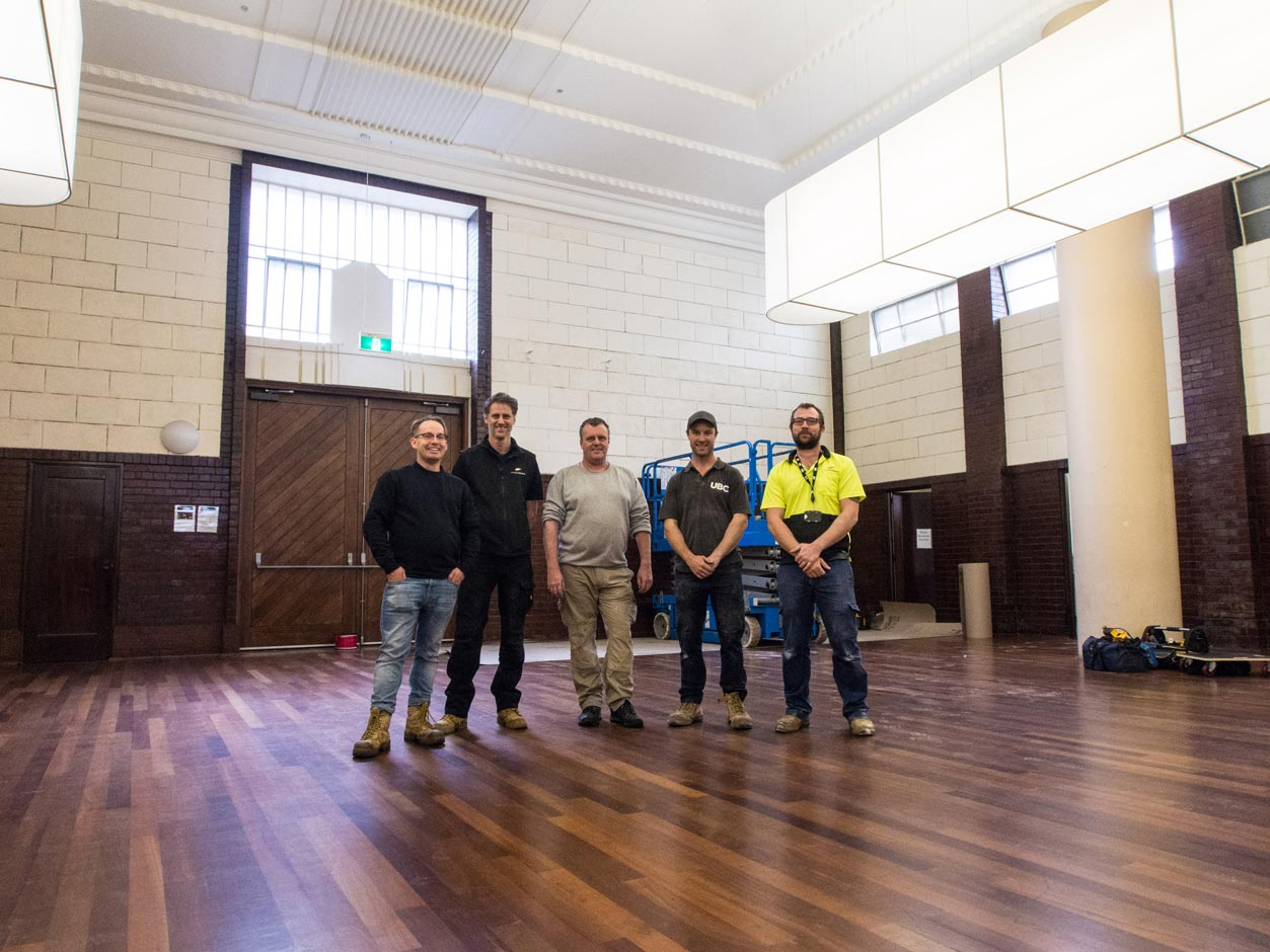 The Easyweb project crew at the Drill Hall